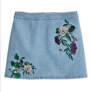 Denim Floral embroidered Skirt